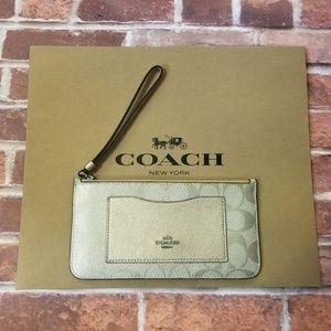 COACH Zip Top Wallet In Signature Canvas Platinum